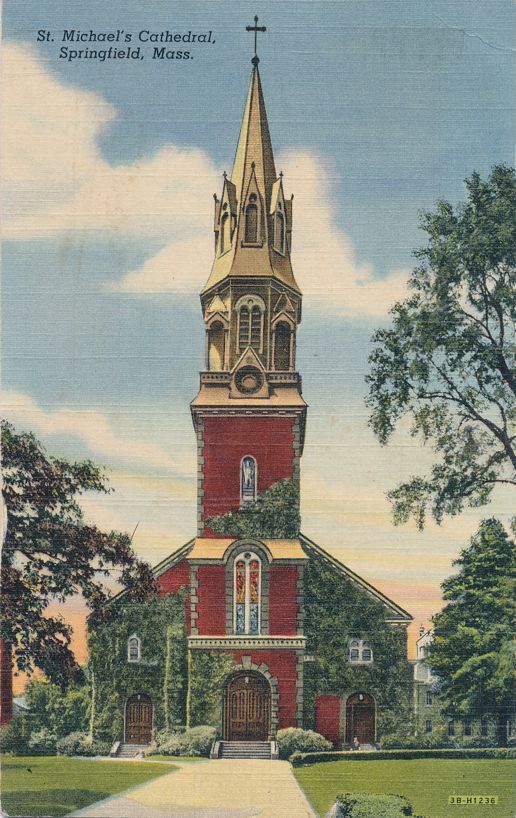 Springfield, Massachusetts - St. Michael's Cathedral - Church - pm 1947 - Linen Card