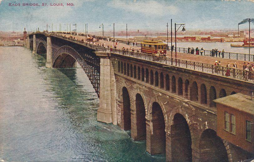 St Louis, Missouri - Eads Bridge over Mississippi River - pm 1908 - Divided Back