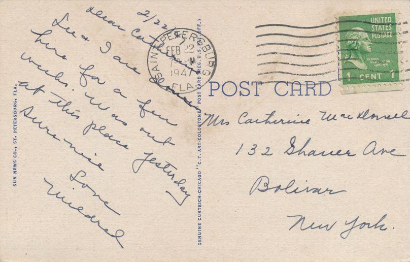 Bay Pines, Florida - Hospital Wing of Veterans Admin Building - pm 1947 at Saint Petersburg FL - Linen Card