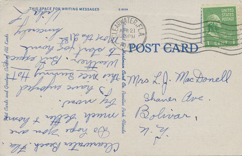 Clearwater, Florida - Yacht Club at Clearwater Beach - pm 1947 - Linen Card