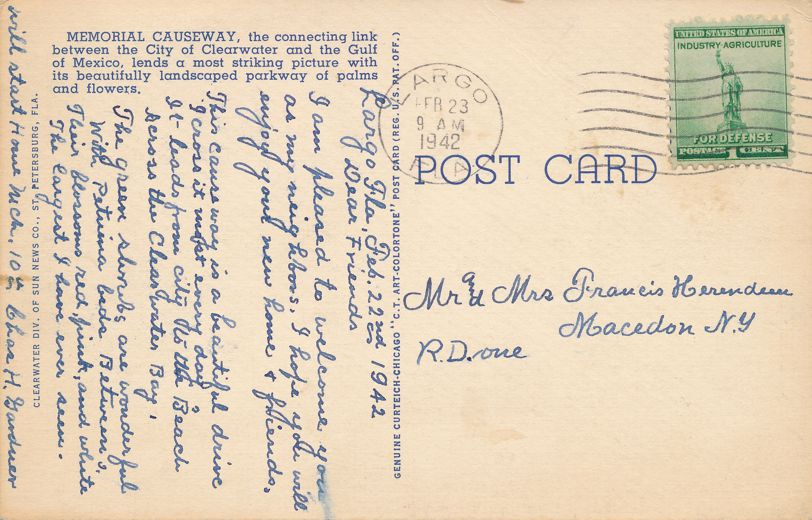 Clearwater, Florida - Beautiful Memorial Causeway - pm 1942 at Largo FL - Linen Card