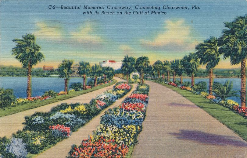 Beautiful Memorial Causeway to Gulf of Mexico - Clearwater, Florida - pm 1949 at Tarpon Springs FL - Linen Card