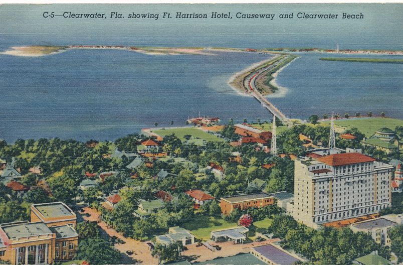 Clearwater, Florida - Harrison Hotel, Causeway, Beach, Gulf of Mexico - pm 1947 - Linen Card