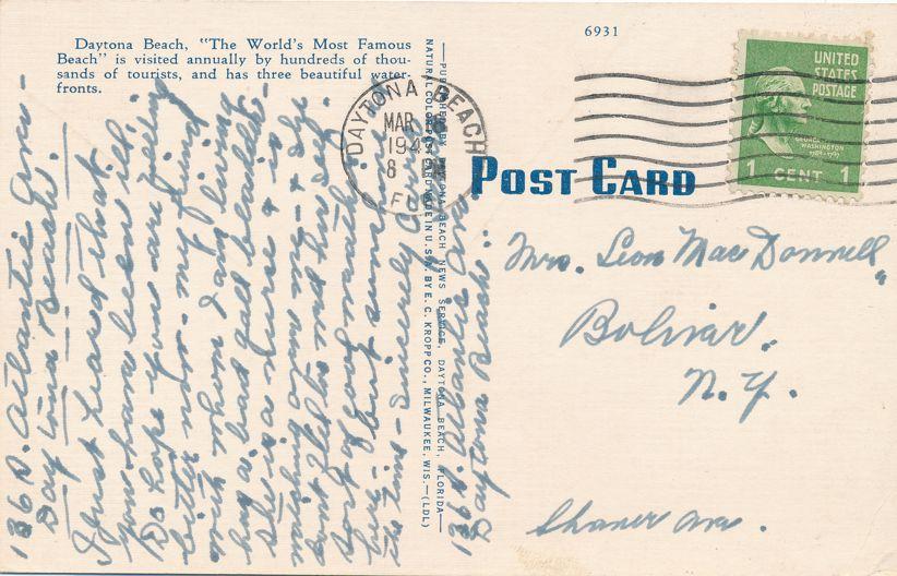Daytona Beach, Florida - Autos and Bathers on Beach - pm 1947 - Linen Card