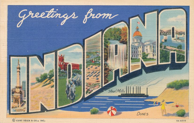 Greetings From Indiana - Steel Mills and Sand Dunes - pm 1946 at New Castle - Linen Large Letter
