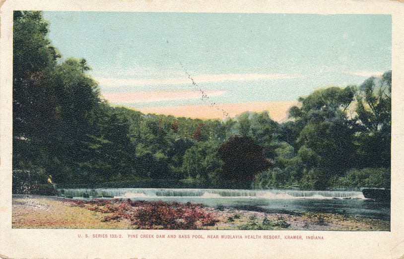 Kramer, Indiana - Pine Creek Dam and Bass Pool near Mudlava Resort - pm 1907 - Undivided Back
