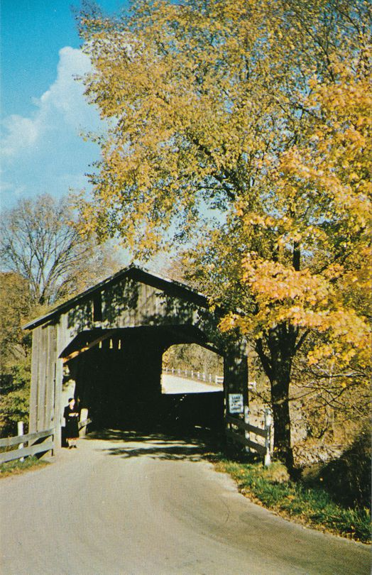 Lady at Dora Covered Bridge - moved from former village of Dora, Indiana