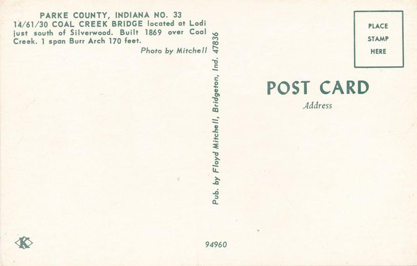 Lodi, Indiana - Coal Creek Covered Bridge - Parke County