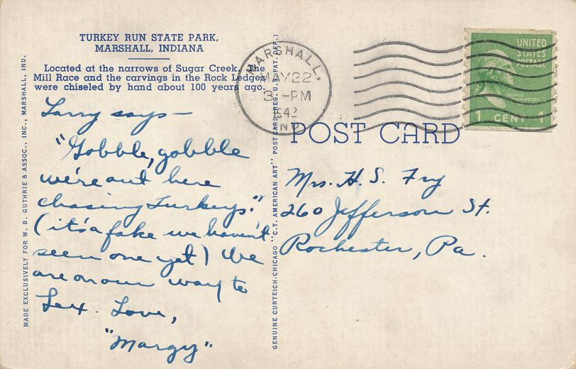 Marshall, Indiana - Narrows of Sugar Creek - Lusk Mill Covered Bridge - pm 1942 - Linen Card