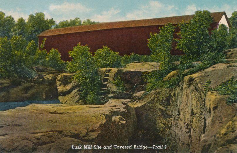 Marshall, Indiana - Lusk Mill Covered Bridge - Narrows of Sugar Creek
