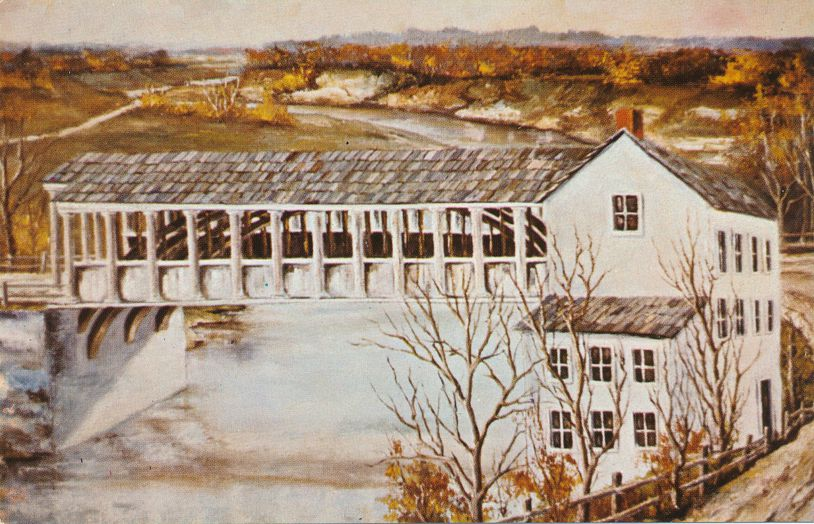 Richmond, Indiana - Old National Road Covered Bridge from Painting by Paul Hamilton