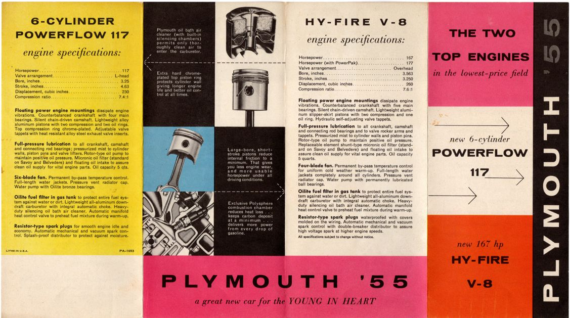 Brochure for 1955 Plymouth Engines 117 hp Powerflow 6 and 167 hp Hy-Fire V-8