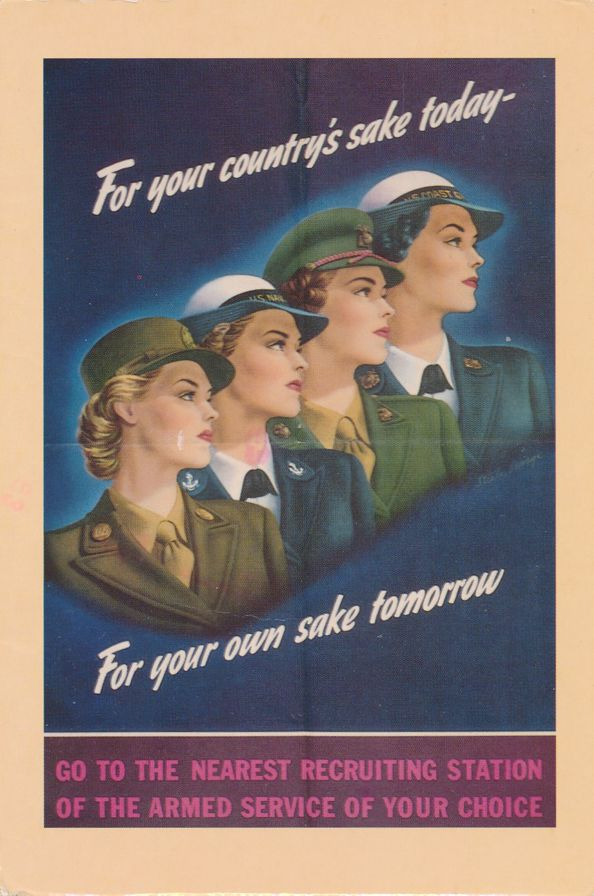 Armed Service Recruiting Poster 1943 - Patriotic Postcard