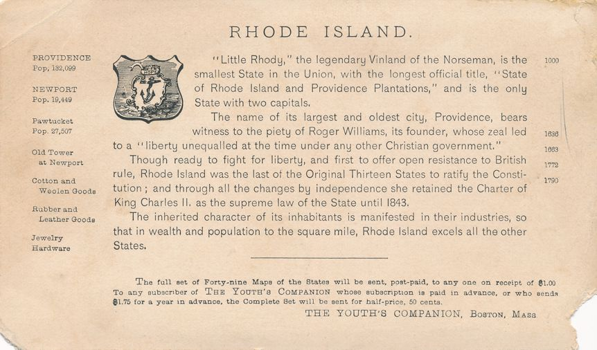 Rhode Island, Trade Card - Woolen Factory Girls - Pub Youth's Companion 1891