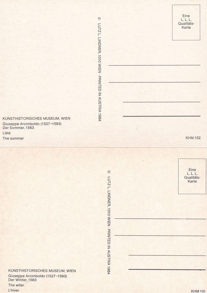 (4 cards) Vienna - Wien, Austria Museum - Unique Paintings by Guiseppe Arcimboldo