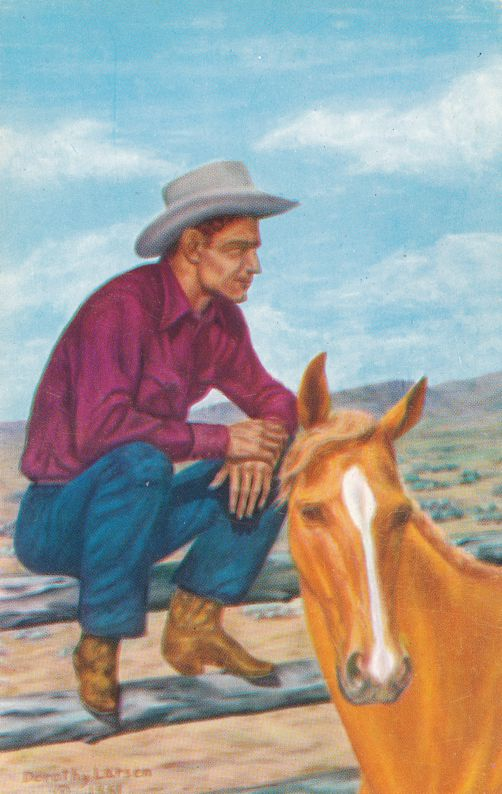The Old Corral by Dorothy Larsen - Wife of Western Artist Dude Larsen