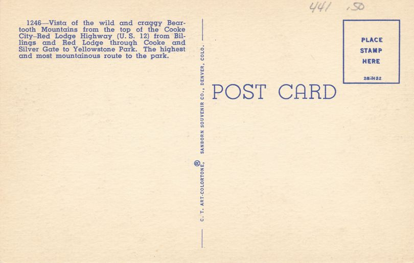 Cooke City, Montana near Top of Cooke City Red Lodge Highway - Linen Card