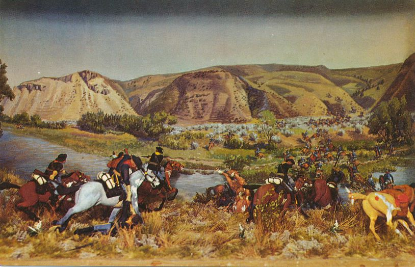 Diorama of Reno's Retreat at Custer's Last Stand - Custer Monument, Montana