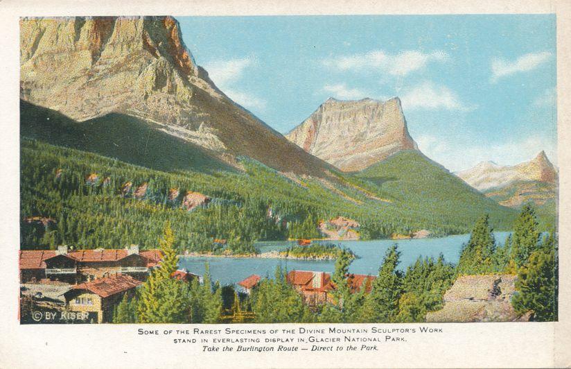 Glacier National Park, Montana - Divine Mountain Sculptor's View - White Border