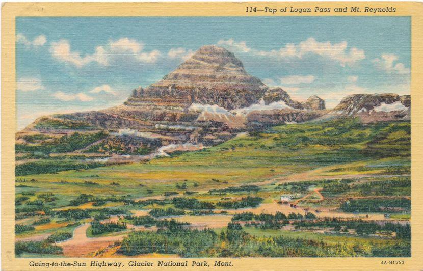 Glacier National Park, Montana - Top of Logan Pass and Mt. Reynolds - pm 1950 at Bigfork - Linen Card