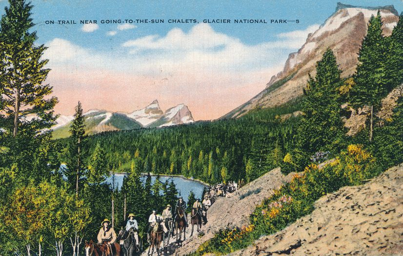 Glacier National Park, Montana - Horse Riders on Trail to the Sun Chalets - pm 1946 at Cut Bank MT - Linen Card
