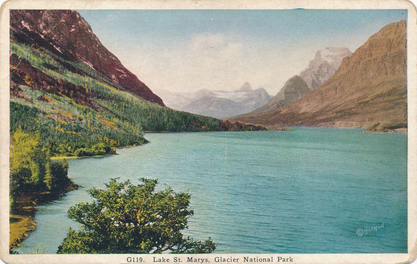 Glacier National Park, Montana - Lake St. Mary's - White Border