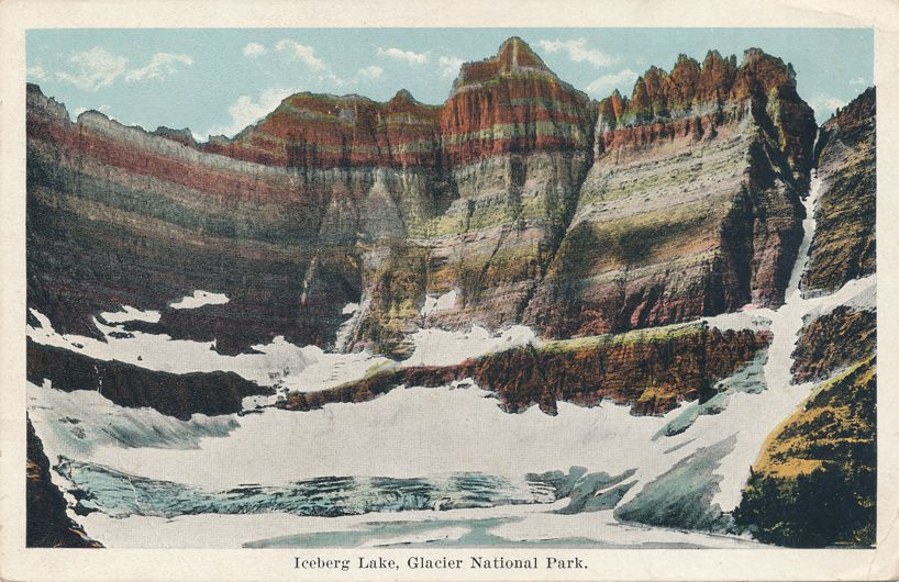 Glacier National Park, Montana - Iceberg Lake - pm 1925 - White Border