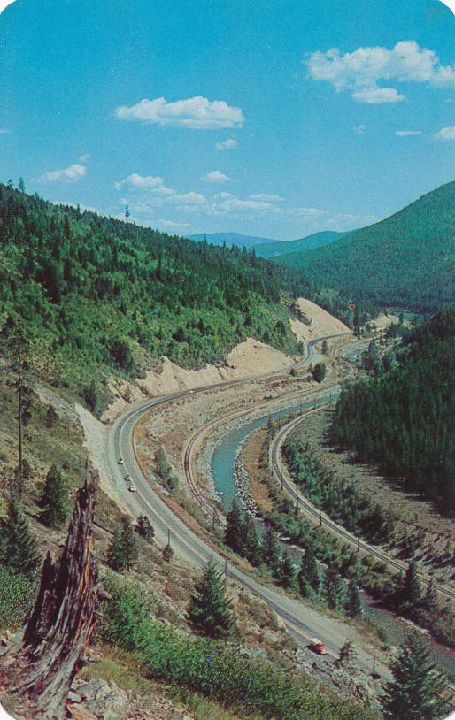 Lookout Pass, Montana - Highway near Saltese - St Regis River - pm 1966 at Gold Creek
