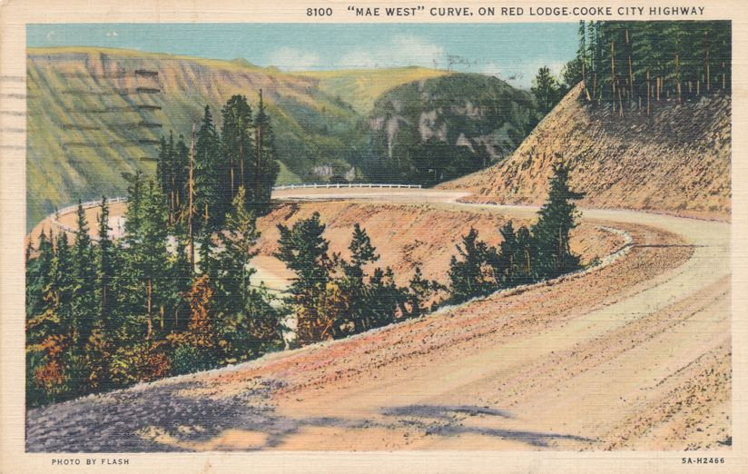 Mae West Curve, Montana on Red Lodge - Cooke City Highway - pm 1939 at Billings MT - Linen Card