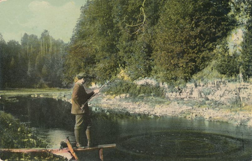 Fishing in Creek - Mailed from Roundup, Montana - pm 1912 - Divided Back