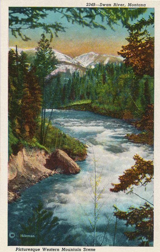 Swan River, Montana - Picturesque Western Mountain Scene - White Border