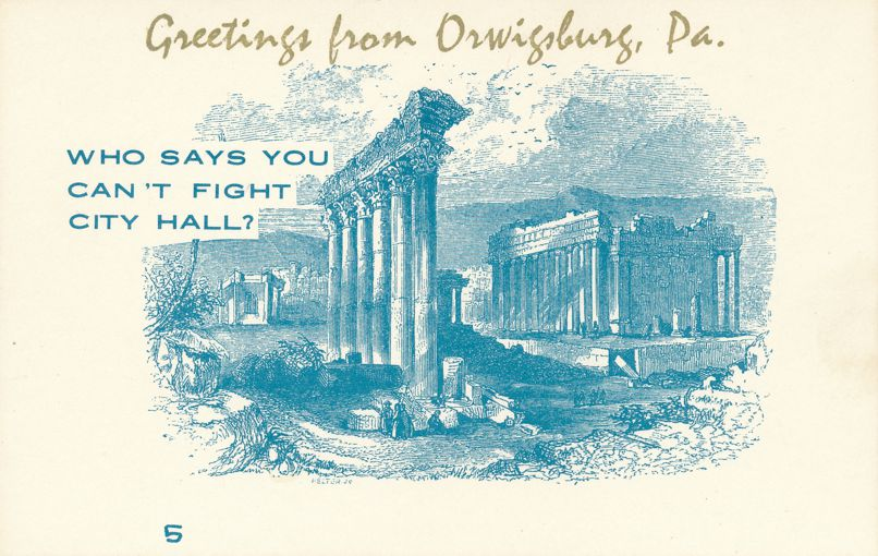 Greetings from Orwigsburg, Pennsylvania - Village Print Humor - Fight City Hall