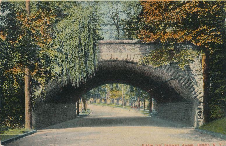 Buffalo, New York - Bridge over Delaware Ave - pm 1910 - Divided Back