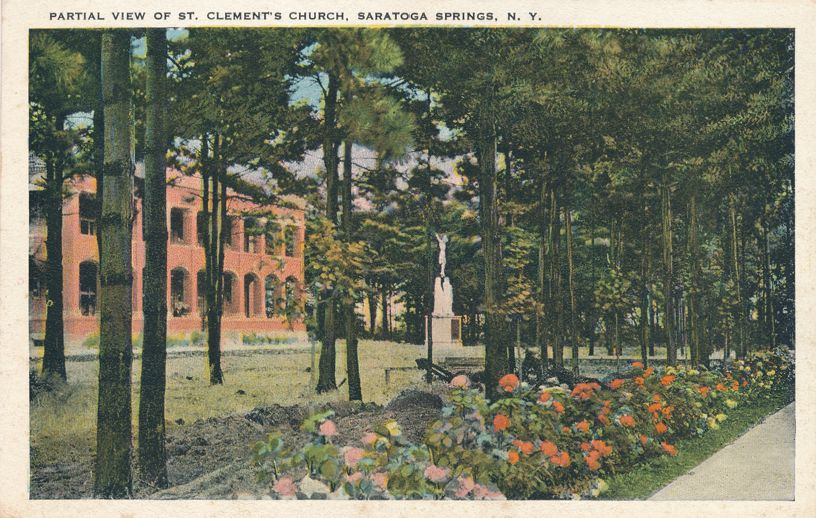 Saratoga Springs, New York - Partial View of St Clement's Church - White Border