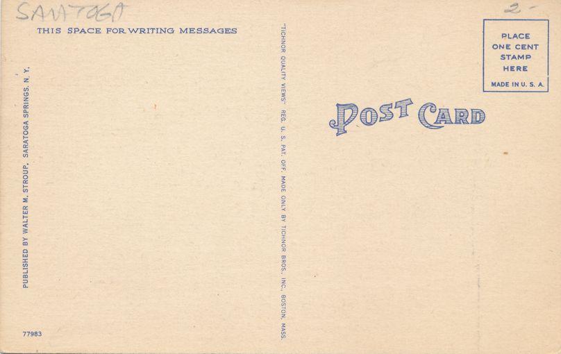 Saratoga Springs, New York - Veterans Administration Hospital - Linen Card