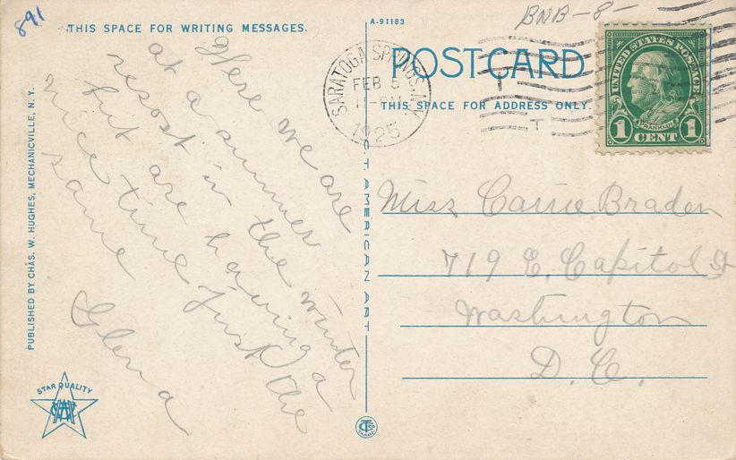 Saratoga Springs, New York - Restaurant at Saratoga Inn - Hotel - pm 1925 - White Border