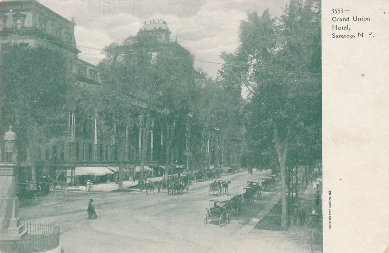 Saratoga Springs, New York - Horse and Carriages at Grand Union Hotel - Undivided Back