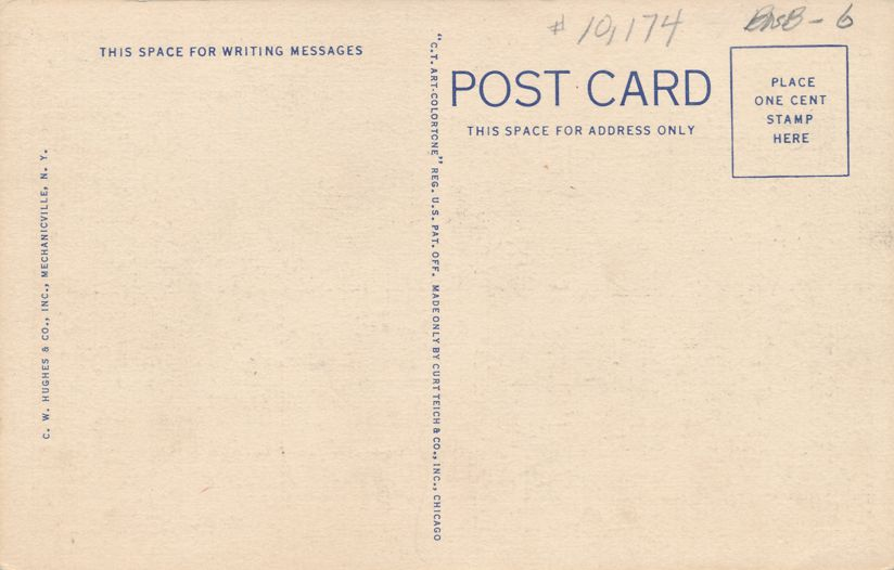 Saratoga Springs, New York - Broadway Looking North - Linen Card