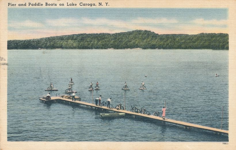 Caroga Lake, Adirondack Mountains, New York - Pier and Paddle or Pedal Boats - Linen Card