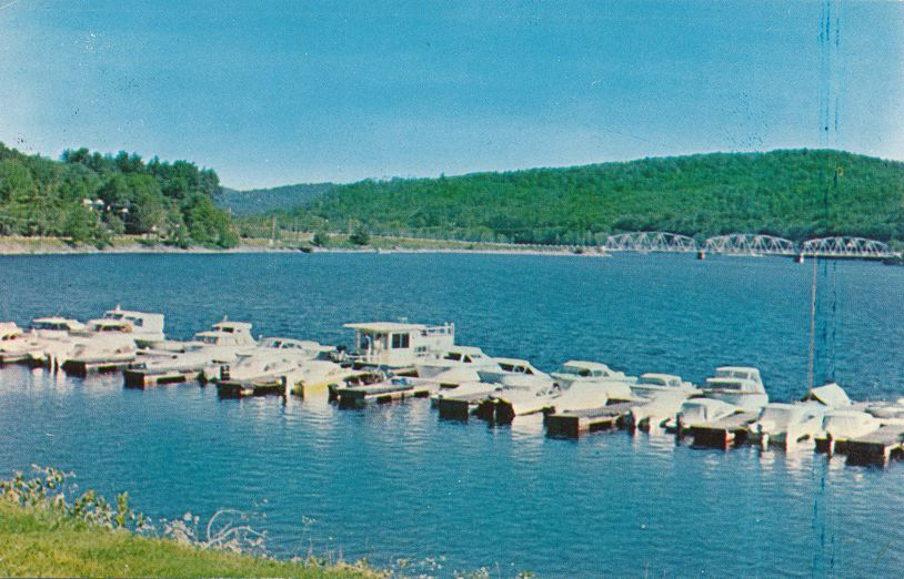 Sacandaga Park, New York - Park Marine Base - Boats on Lake Marina Dock