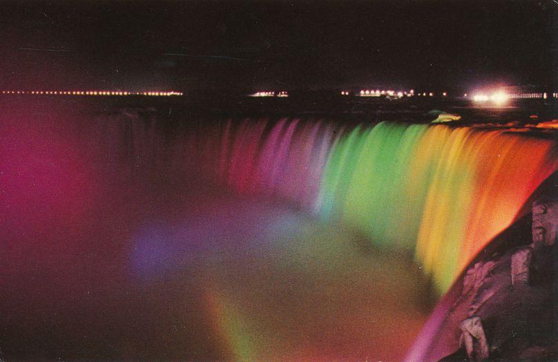 Niagara Falls, Ontario, Canada - Illuminated Horseshoe Falls from Canada - pm 1980 at Buffalo