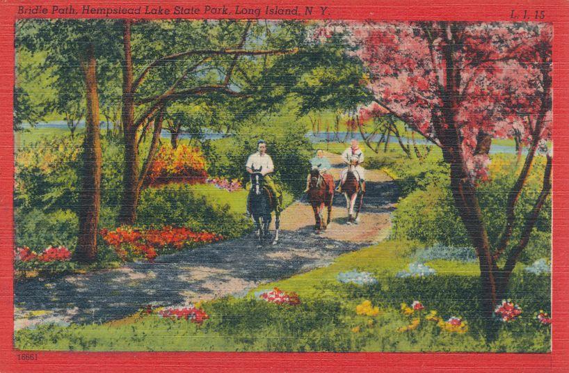 Horse Riders on Bridal Path - Hempstead Lake State Park, Long Island, New York - Linen Card