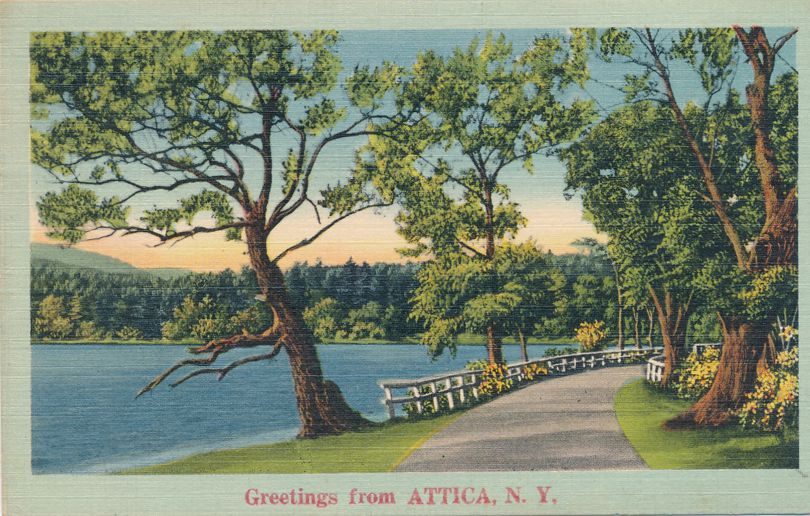 Greetings from Attica, New York - Rural Road and Lake Scene - pm 1948 - Linen Card