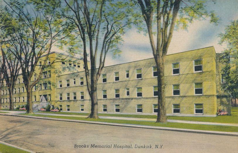 Dunkirk, New York - Brook's Memorial Hospital - Linen Card