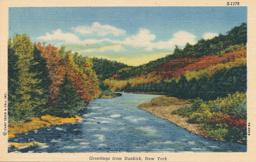 Greetings from Dunkirk, New York - River View - Linen Card