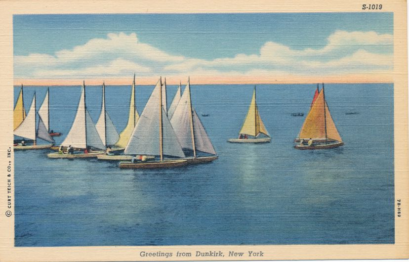 Greetings from Dunkirk, New York - Sailboats on Lake - Linen Card