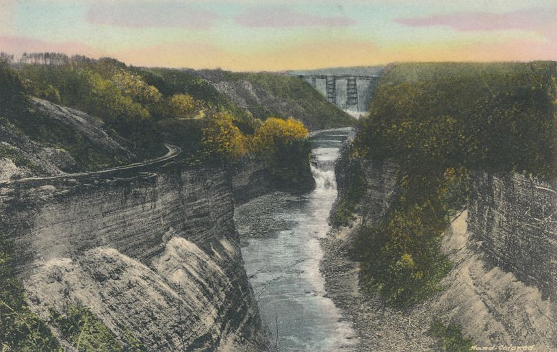 Letchworth State Park, New York near Castile - RR Bridge from Inspiration Point