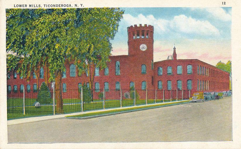 Ticonderoga, New York - Lower Mills - White Border