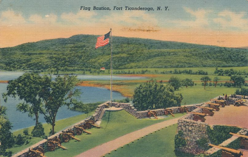 Fort Ticonderoga, New York - Amereican Flag Bastion at South Wall - pm 1948 - Linen Card
