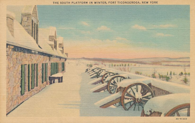 Fort Ticonderoga, New York - The South Platform in Winter - Linen Card